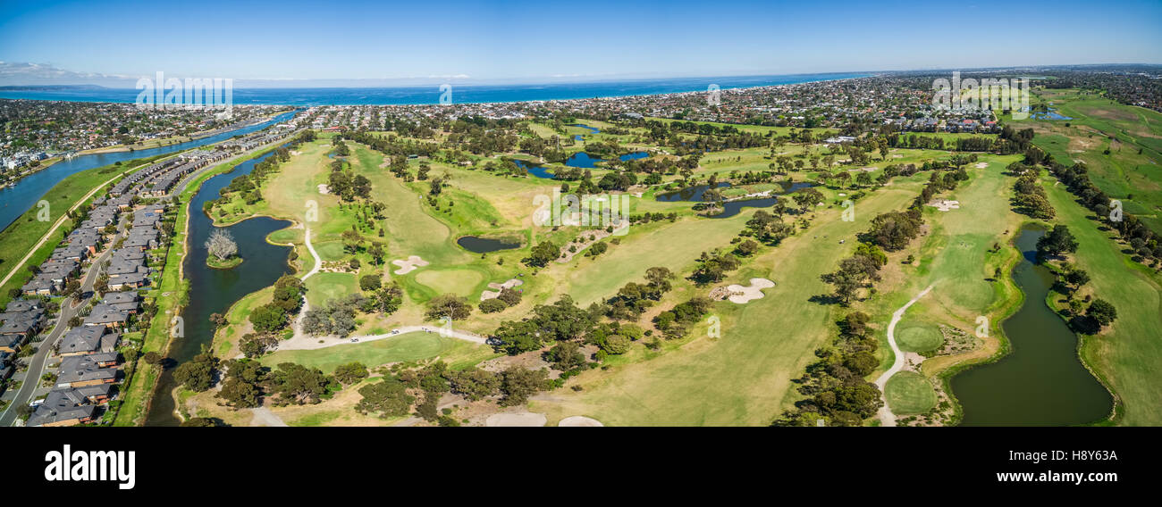 Aerial panorama of Patterson River Golf Club on a bright sunny day