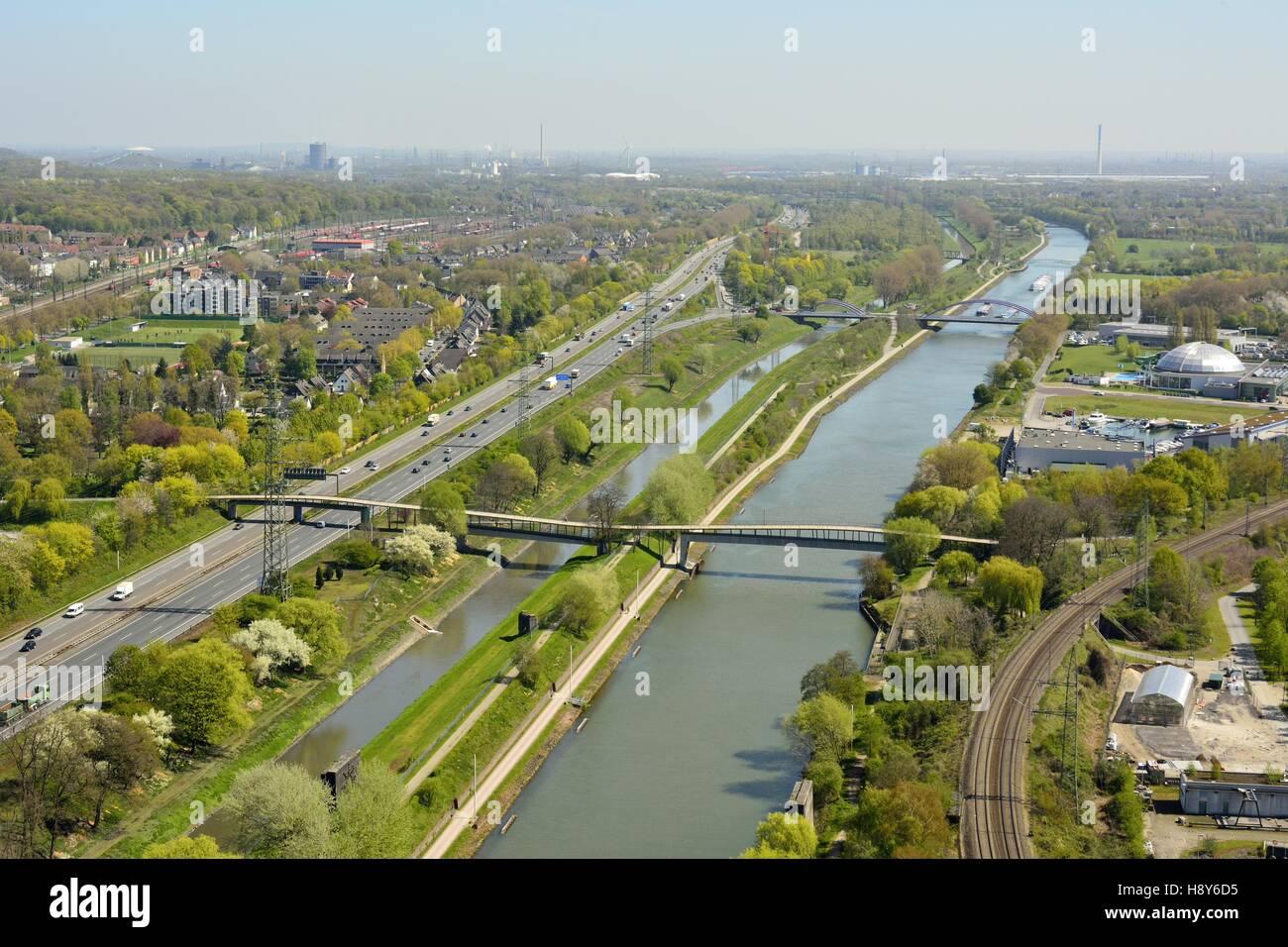 View over Rhein-Herne-Kanal in Oberhausen, Germany. - Stock Image