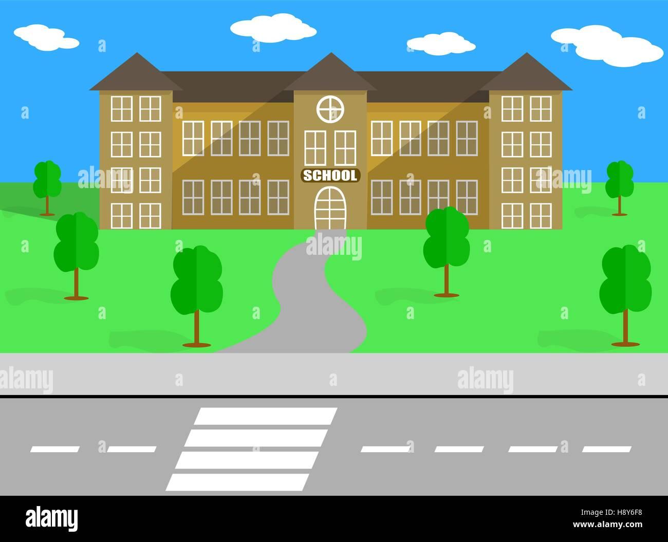 School Building and Schoolyard - Stock Vector