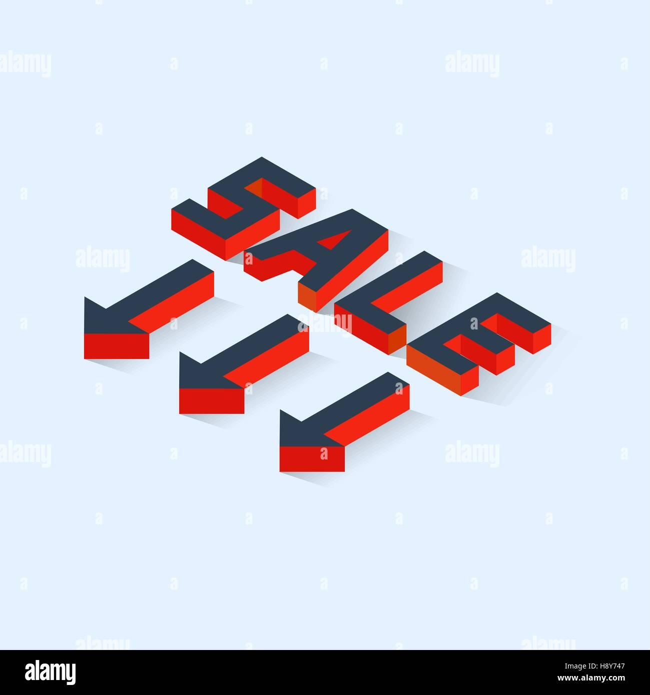Isometric Sale Icon - Stock Image