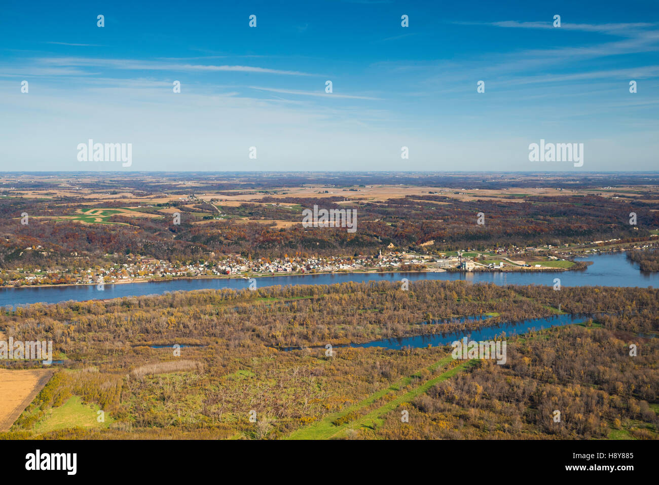 Aerial view of Wisconsin farm lands and Casseville  looking eastward from the Iowa side of the Mississippi River. - Stock Image