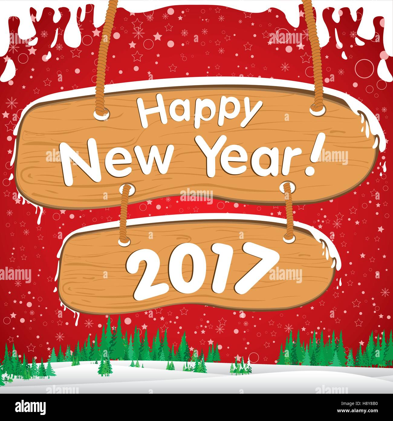 happy new year christmas snow christmas tree flake wooden sign vector year illustration decoration holiday xmas new