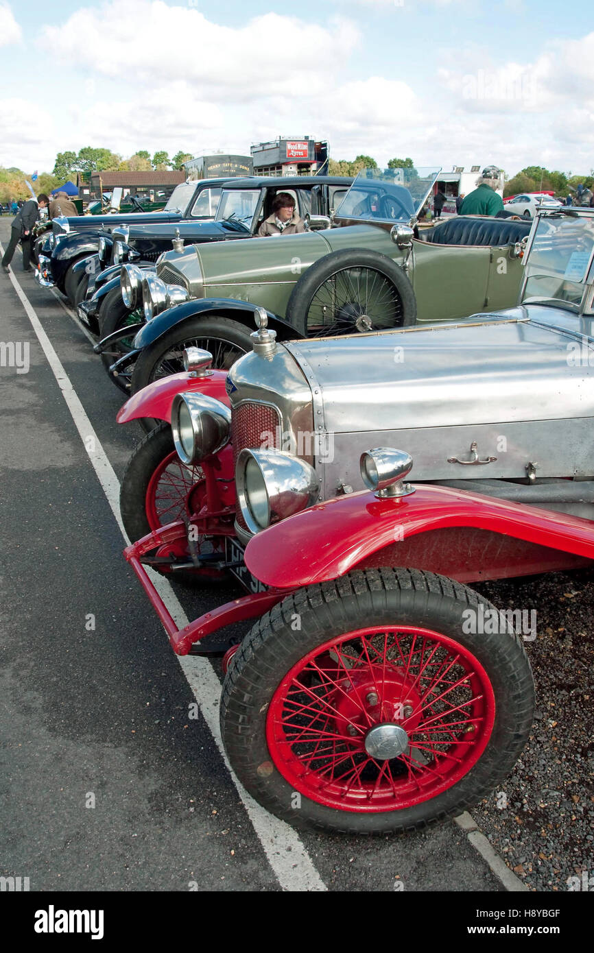 Vintage cars on display at a Shuttleworth Trust Open Day - Stock Image