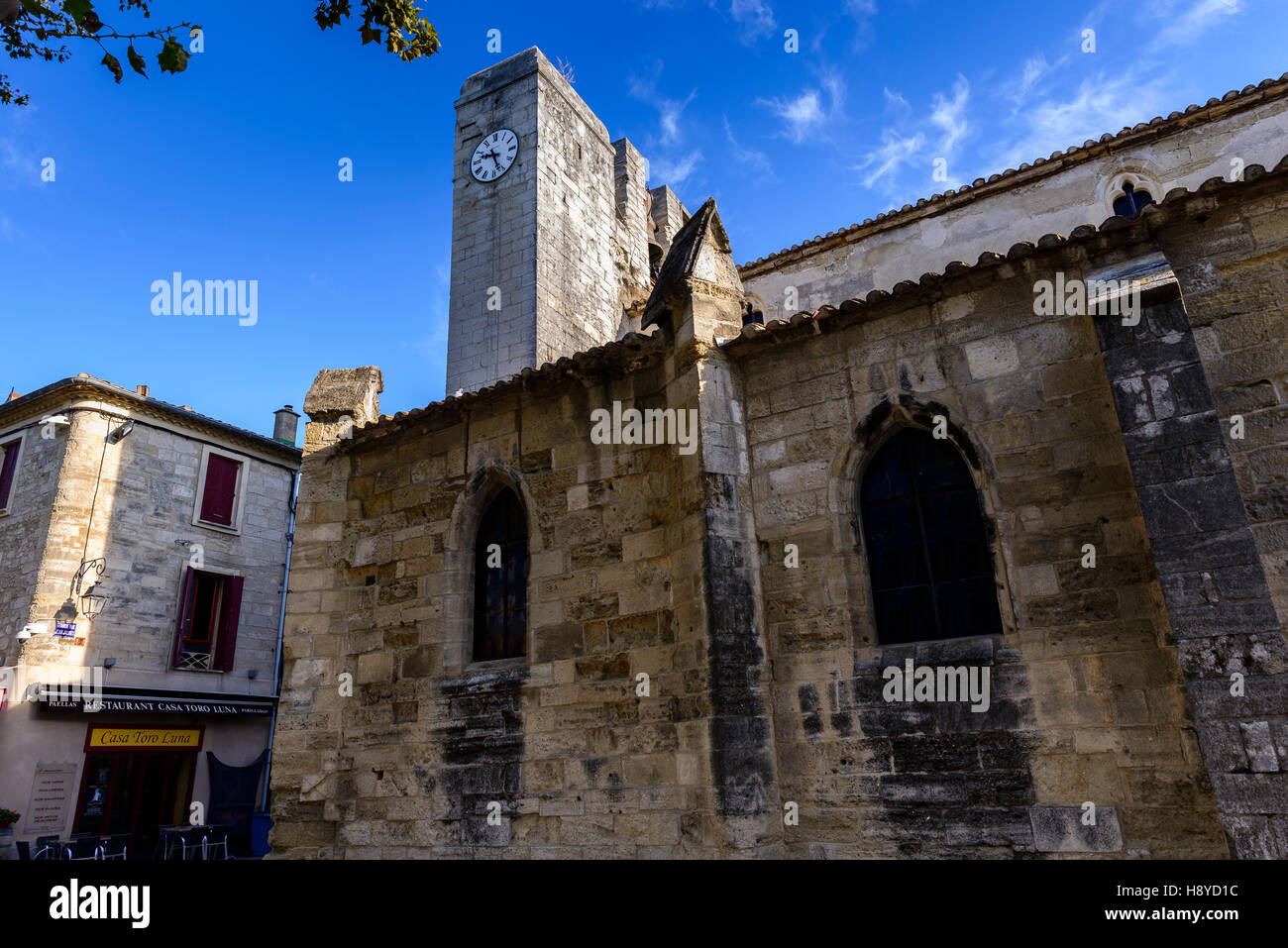 Eglise d'Aigues Mortes les Ramparts Camargue France 30 - Stock Image