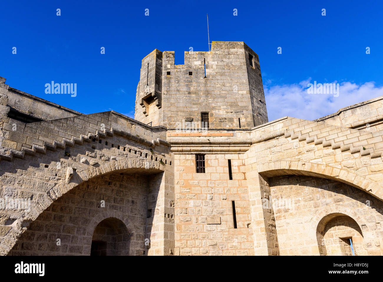 La Tour des Bourguignons Les Remparts Aigues-Mortes,Camargue - FRANCE - Stock Image