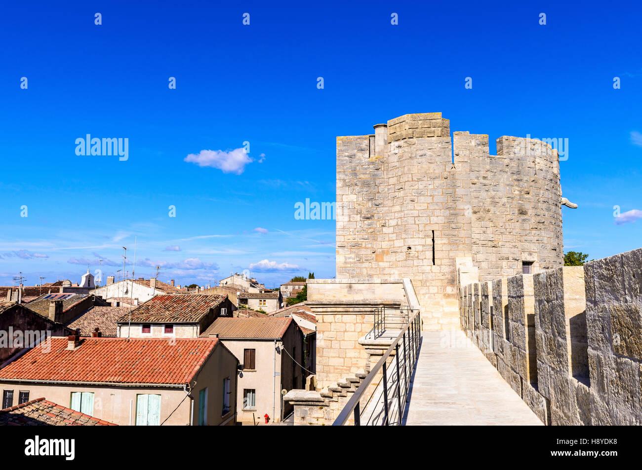 Les Remparts côté Sud Aigues-Mortes,Camargue AIGUES-MORTES - FRANCE - Stock Image