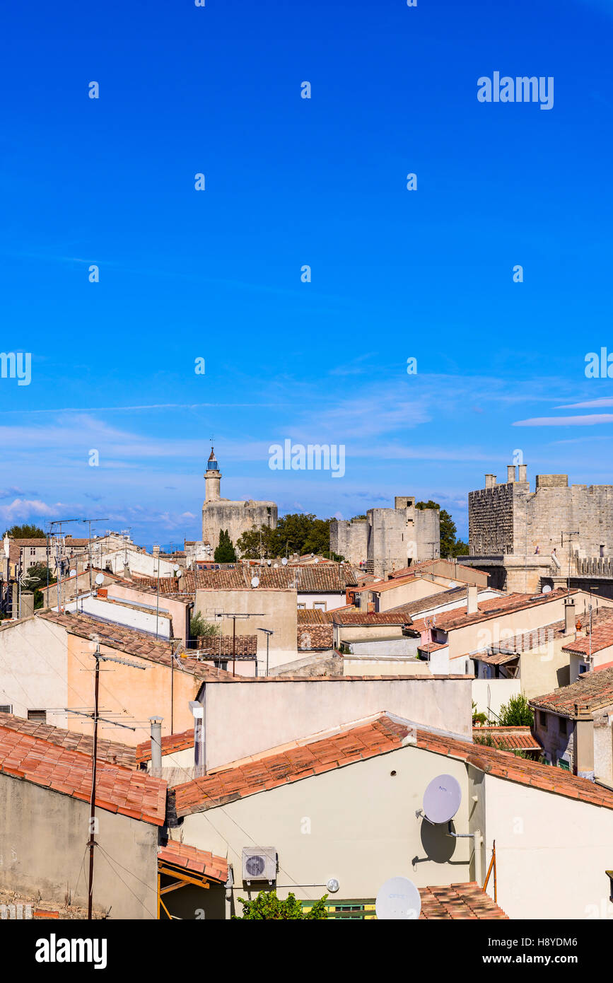 Vue des Remparts sur  la ville d'Aigues-Mortes,et la Tour de constance Camargue AIGUES-MORTES - FRANCE - Stock Image
