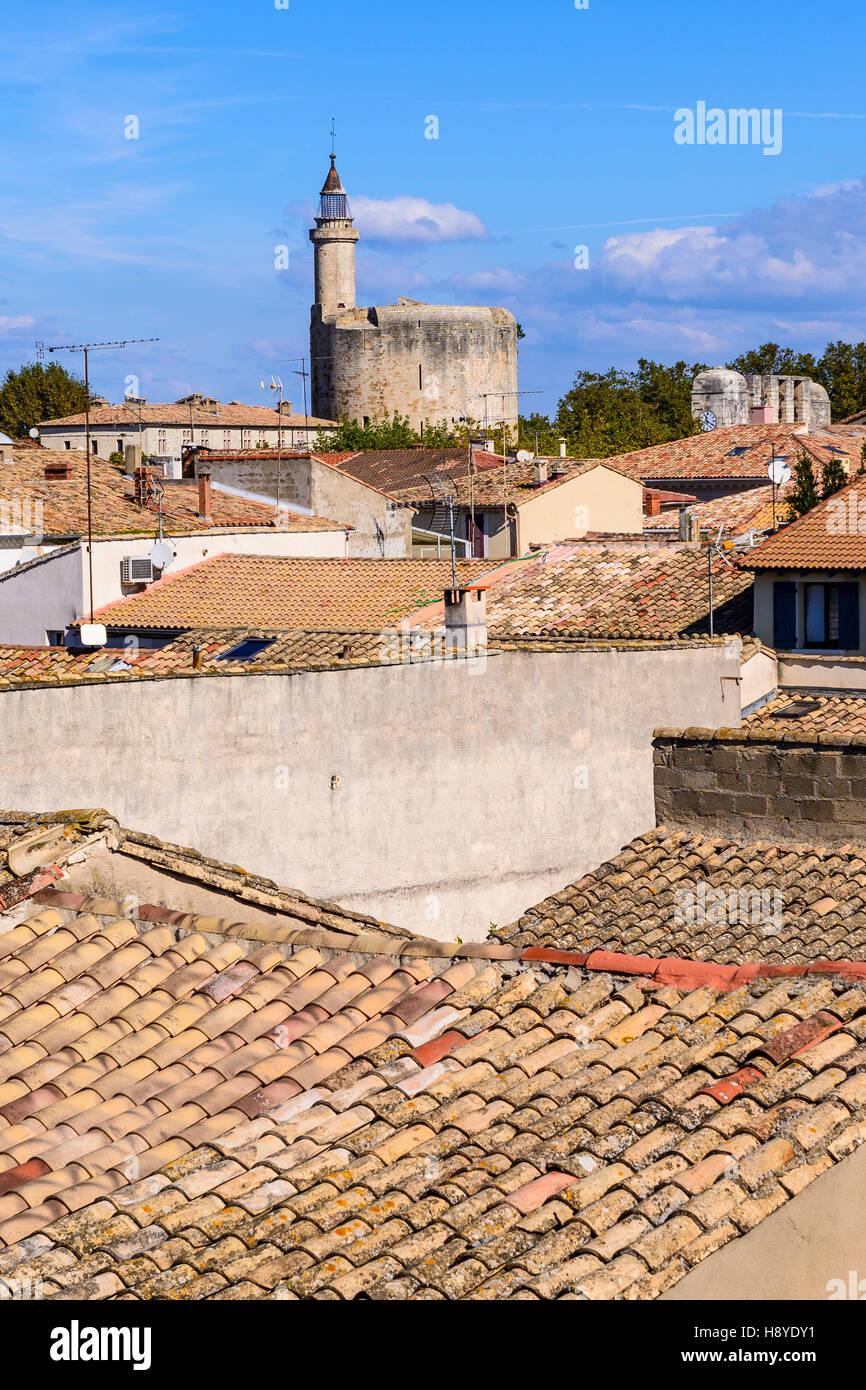 Vue des Remparts sur  la ville d'Aigues-Mortes, et la Tour de constance Camargue AIGUES-MORTES - FRANCE - Stock Image