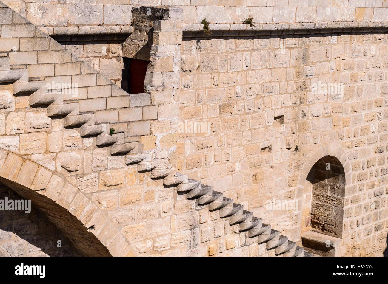 Escalier  des Remparts Aigues-Mortes,Camargue AIGUES-MORTES - FRANCE - Stock Image