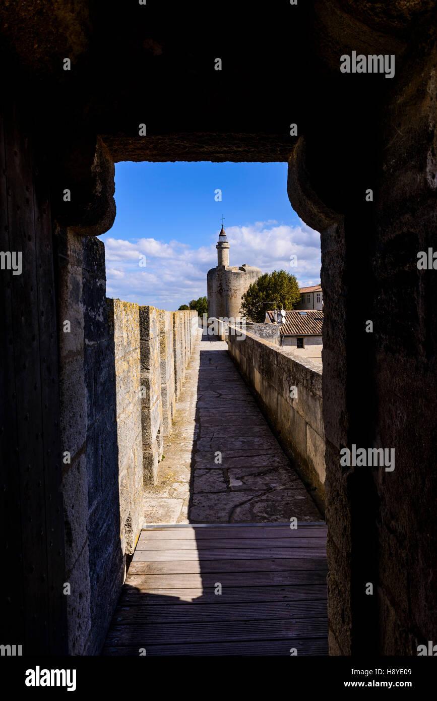 La tour de Constance vue des ramparts Aigues Mortes Camargue France 30 - Stock Image