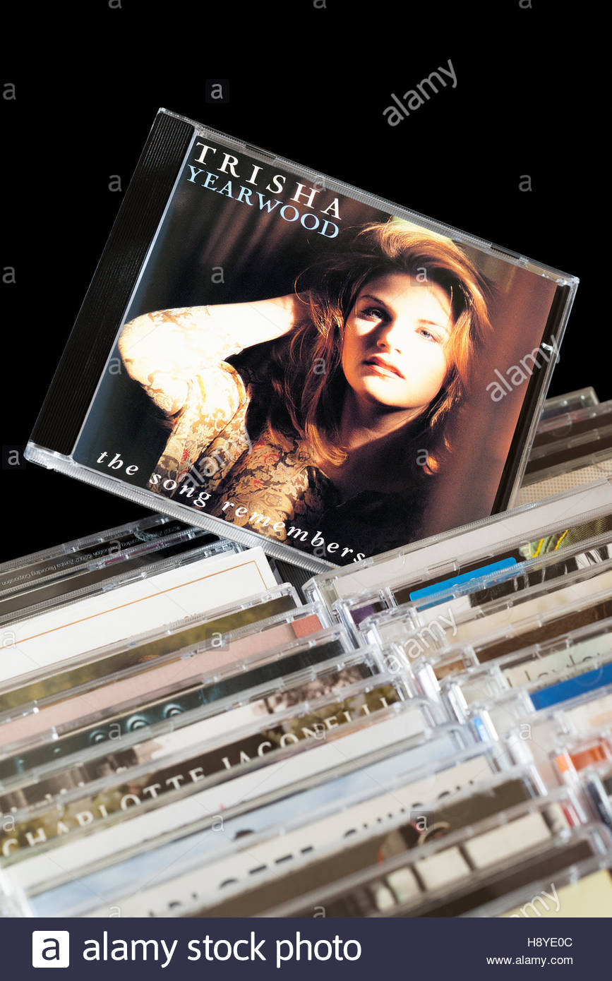The Song Remembers When, Trisha Yearwood CD pulled out from among rows of other CD's Stock Photo