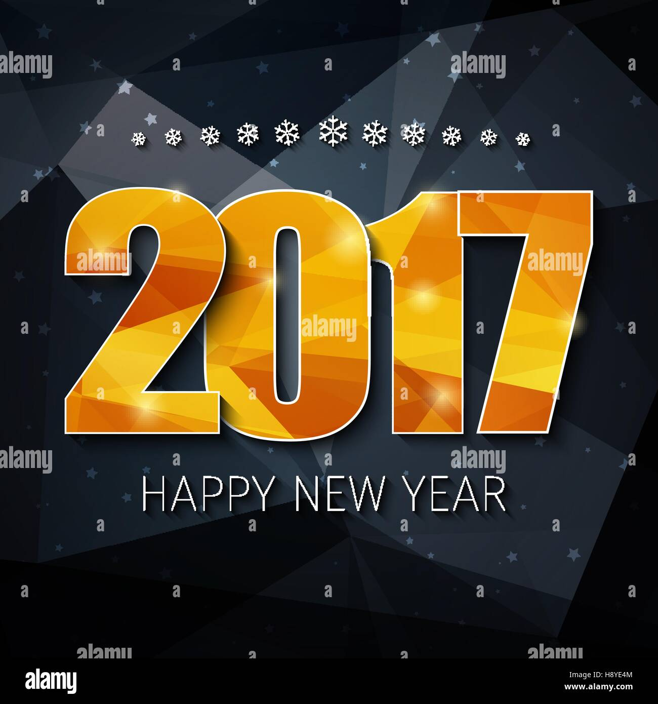 design square web banner background happy new year template polygonal black background and gold abstract numbers 2017 on it vector illustration