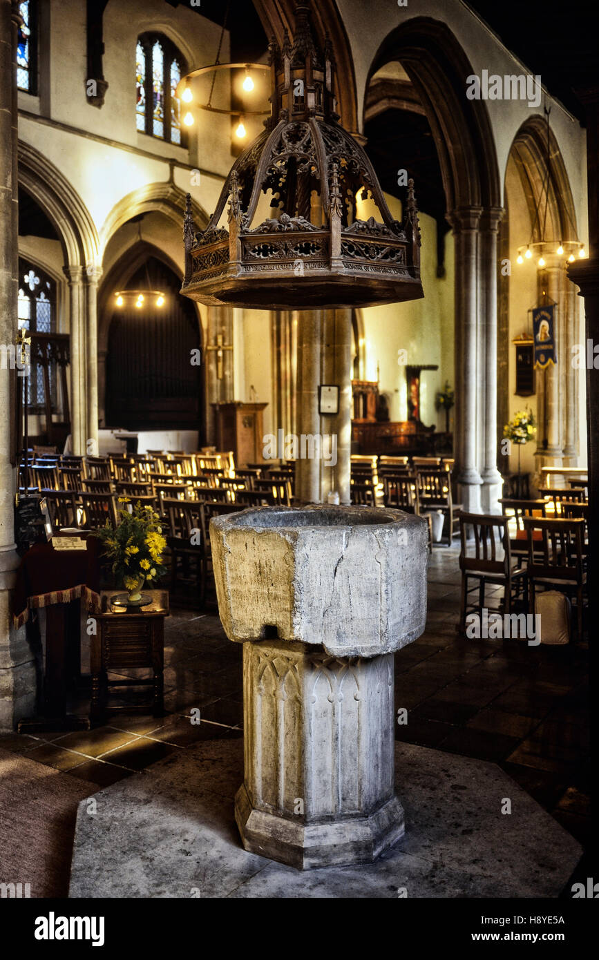 Font where Cromwell was christened. All Saints Church. Huntingdon. Cambridgeshire. England. UK - Stock Image