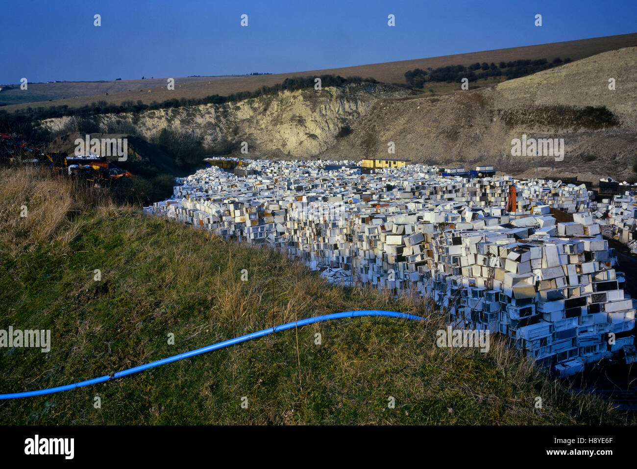 70,000 unwanted fridges await a countryside crusher. Southerham Pit near Lewes East Sussex England UK - Stock Image