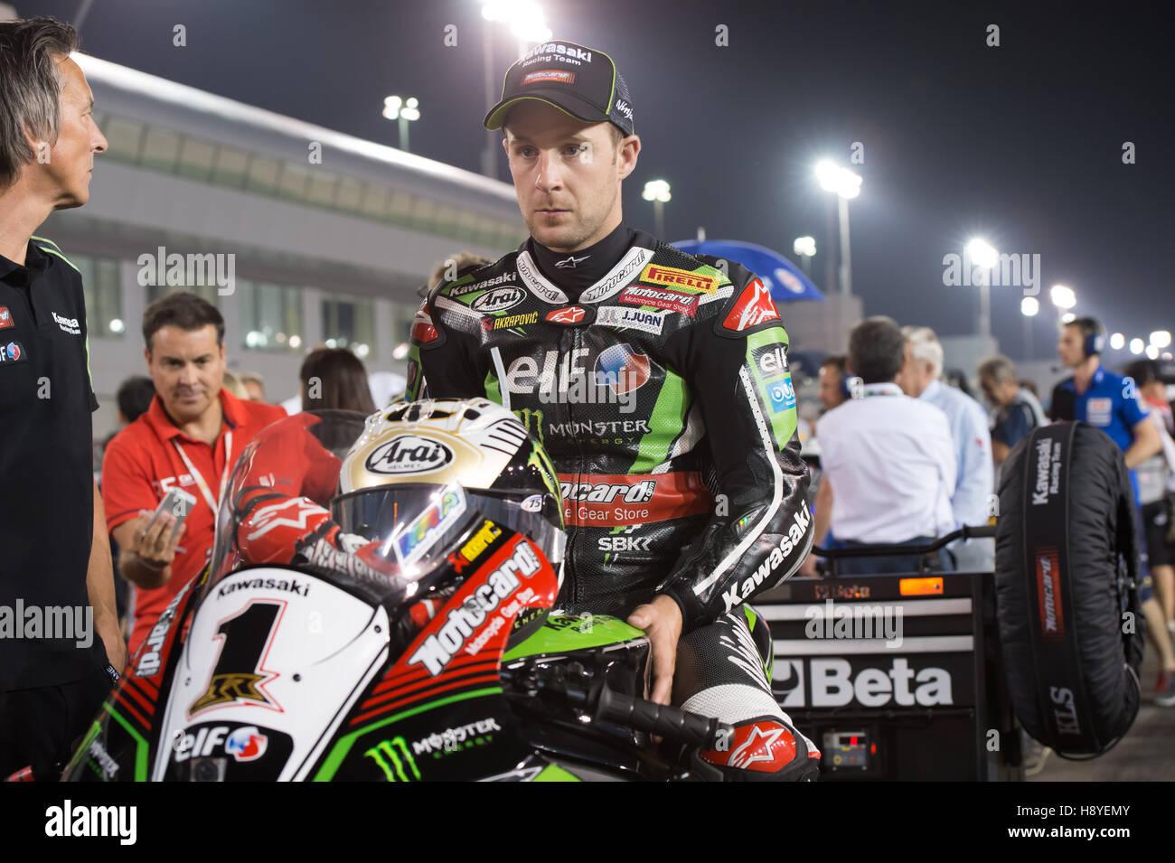 Losail International Circuit, Qatar. 30th Oct, 2016. Kawasaki  rider rider Jonathan Rea  on the start grid before - Stock Image