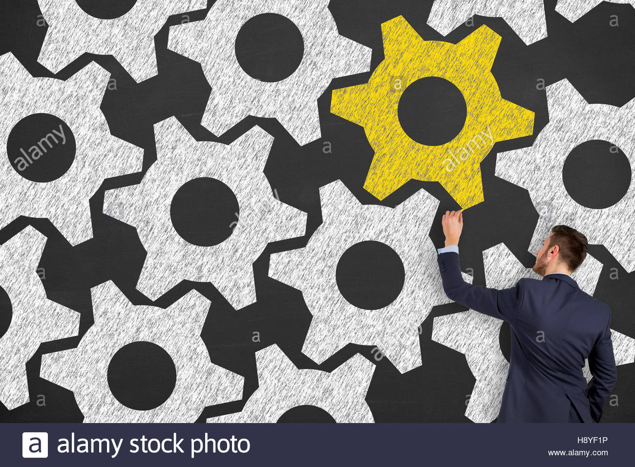 Difference Gear Solution Concepts on Blackboard Background - Stock Image