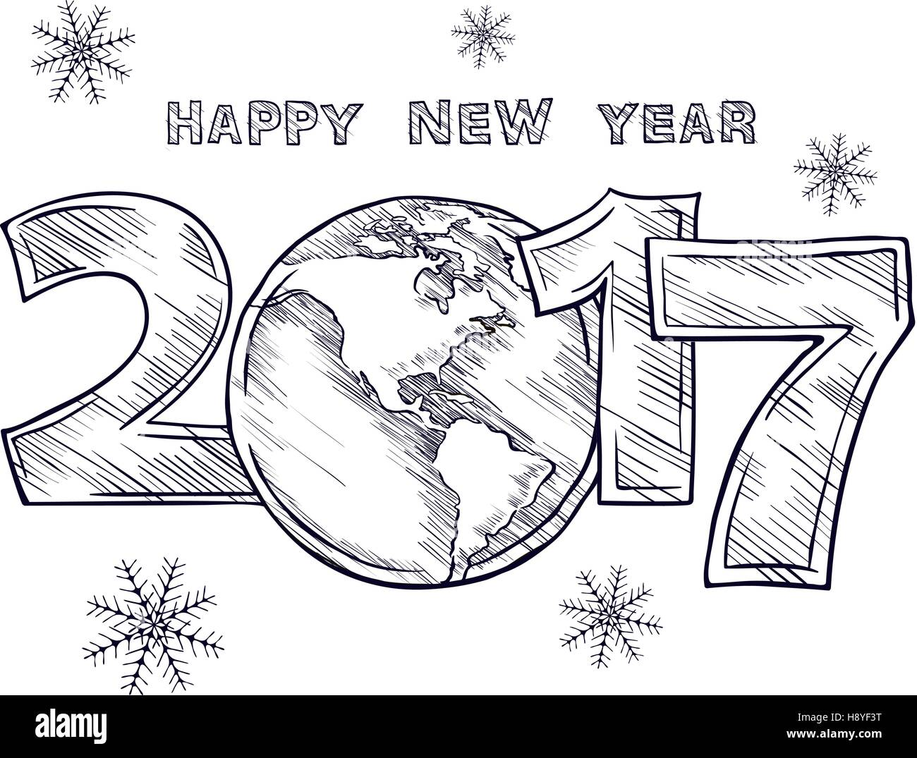 Happy New Year 2017  sketch. Globe outline drawing. Planet Earth. Calendar design typography vector illustration - Stock Vector