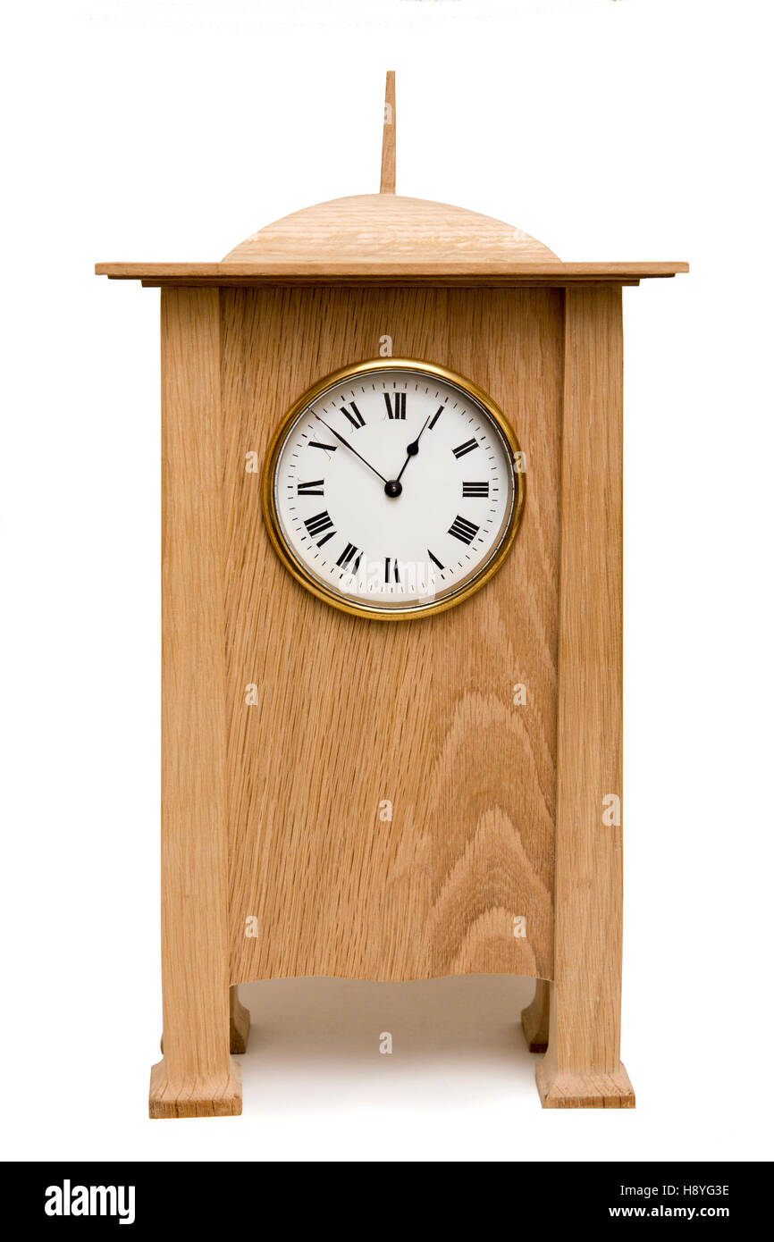 Crafts Charles Voysey design oak mantel clock - Stock Image