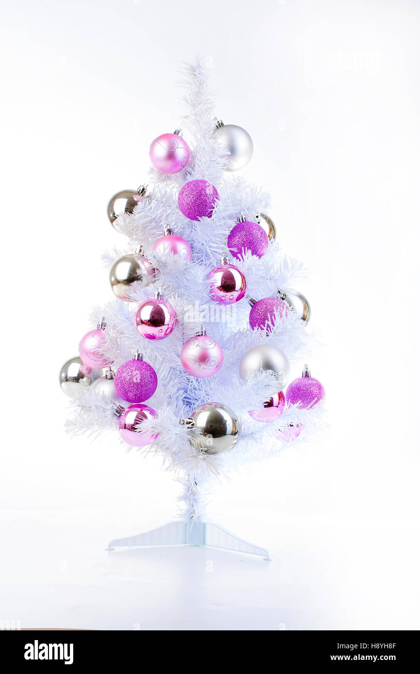 White Christmas Tree With Silver And Pink Ornaments Christmas Ball Stock Photo Alamy