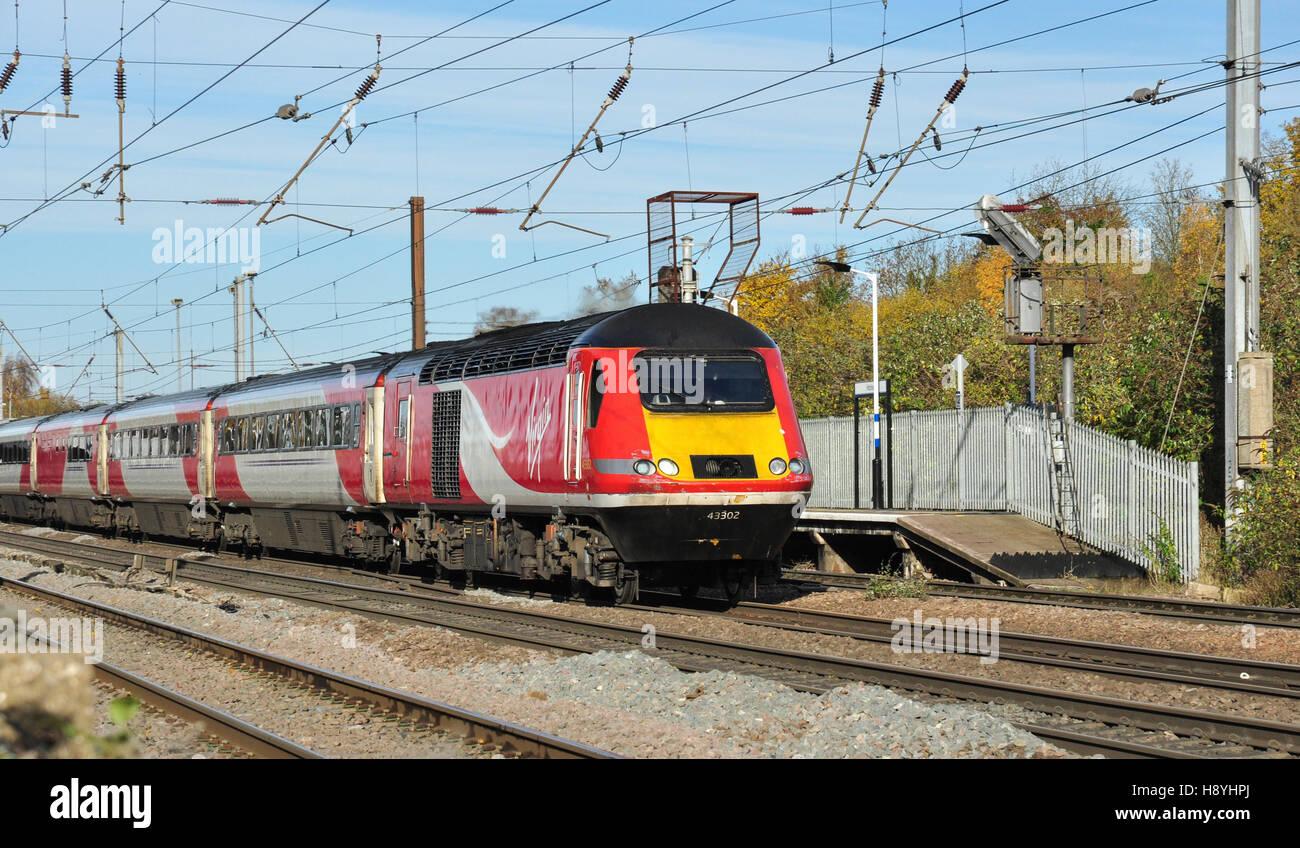 IC125 London bound express passes Hitchin, Hertfordshire, England, UK - Stock Image