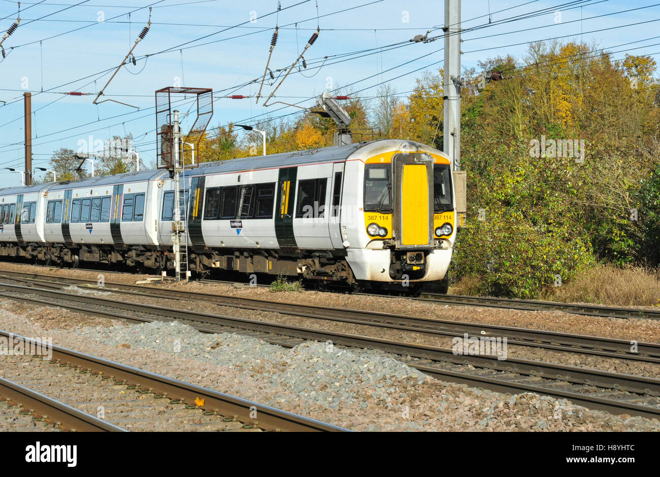 Class 387 EMU heads south from Hitchin, Hertfordshire, England, UK - Stock Image