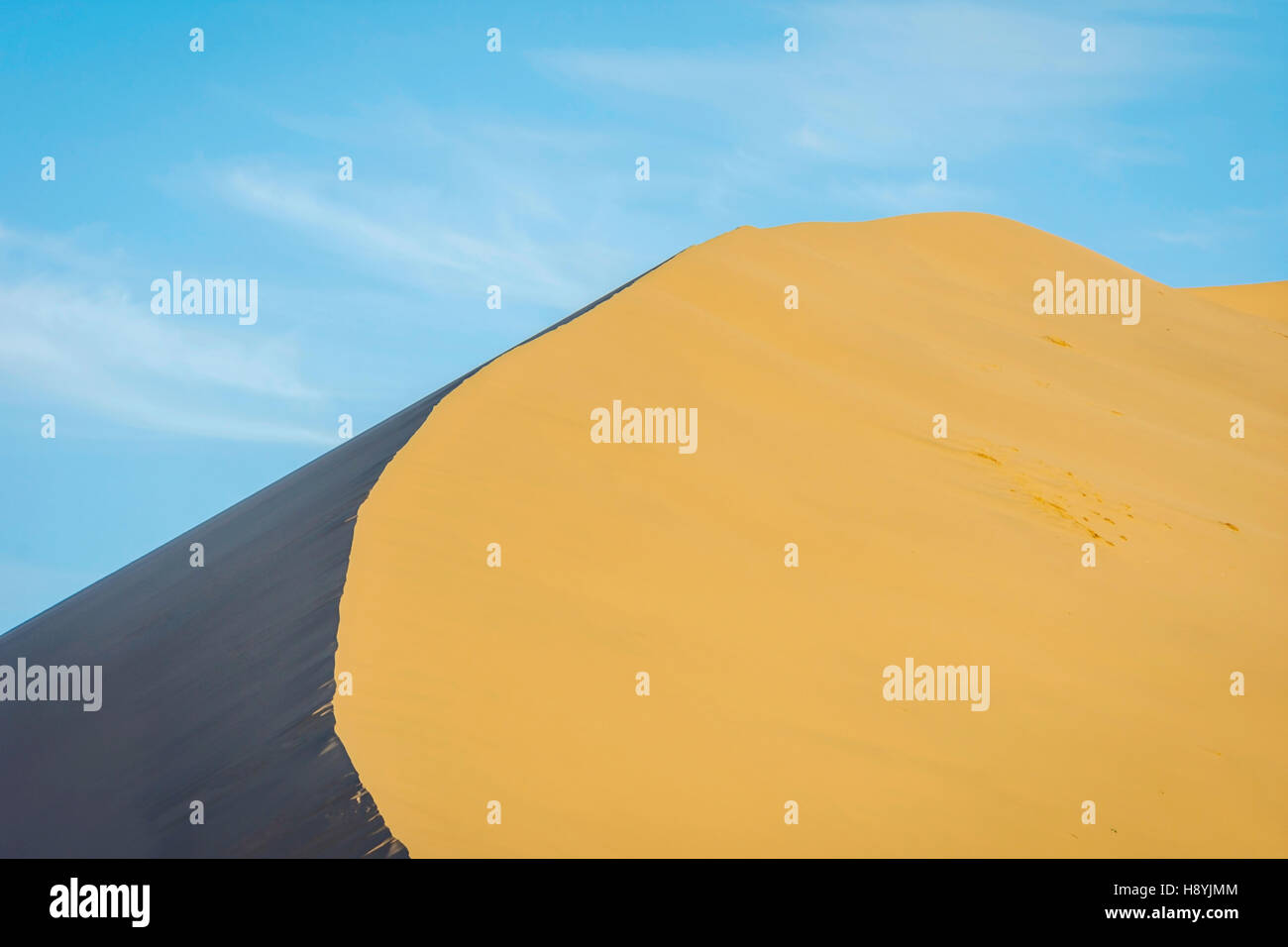 Colorful sand dunes in Gobi desert, Dunhuang, China - Stock Image