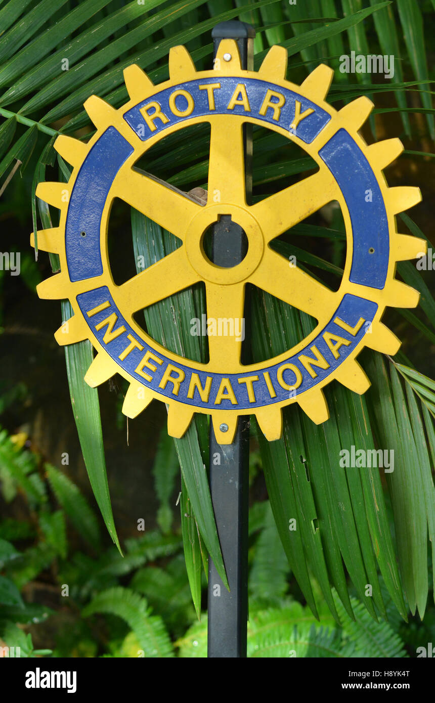 Rotary international sign.There are 34,282 Rotary member clubs worldwide. 1.2 million individuals called Rotarians - Stock Image