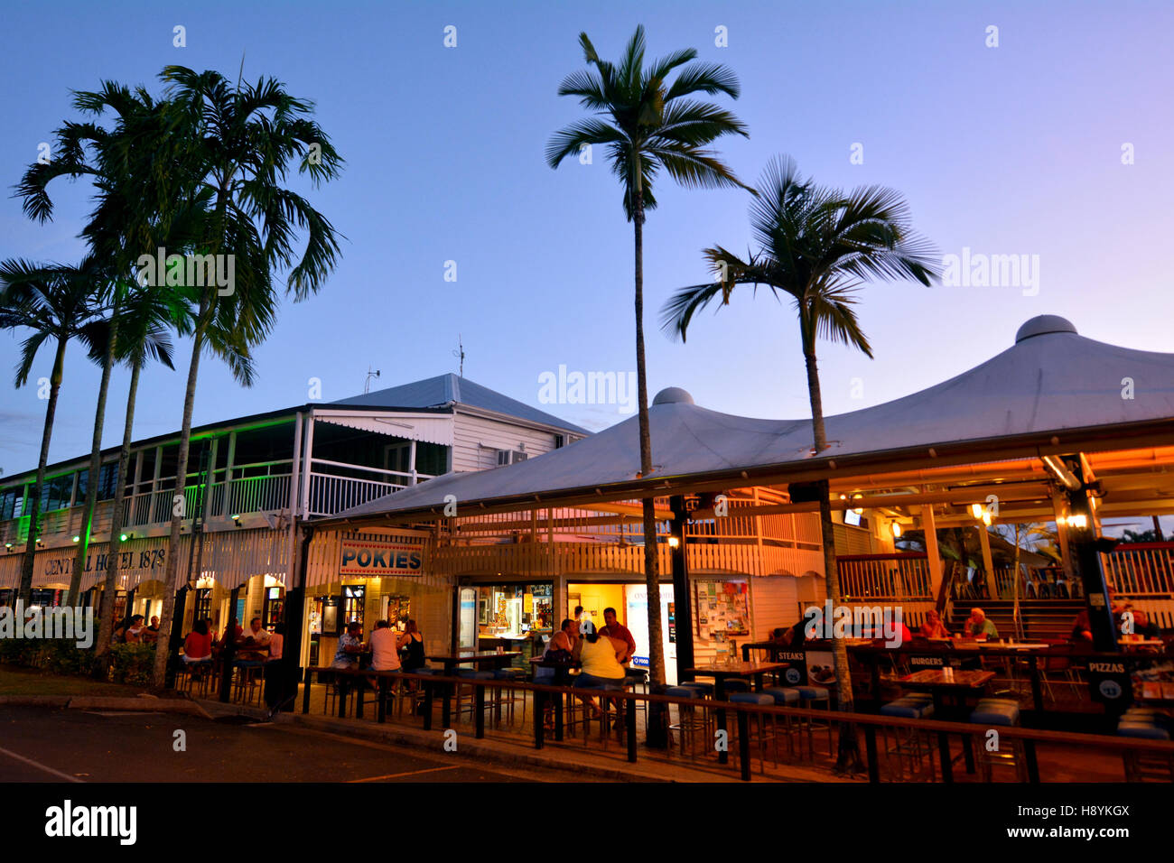 Pubs and restaurants on the main street of Port Douglas a very popular travel destination in the tropical north - Stock Image