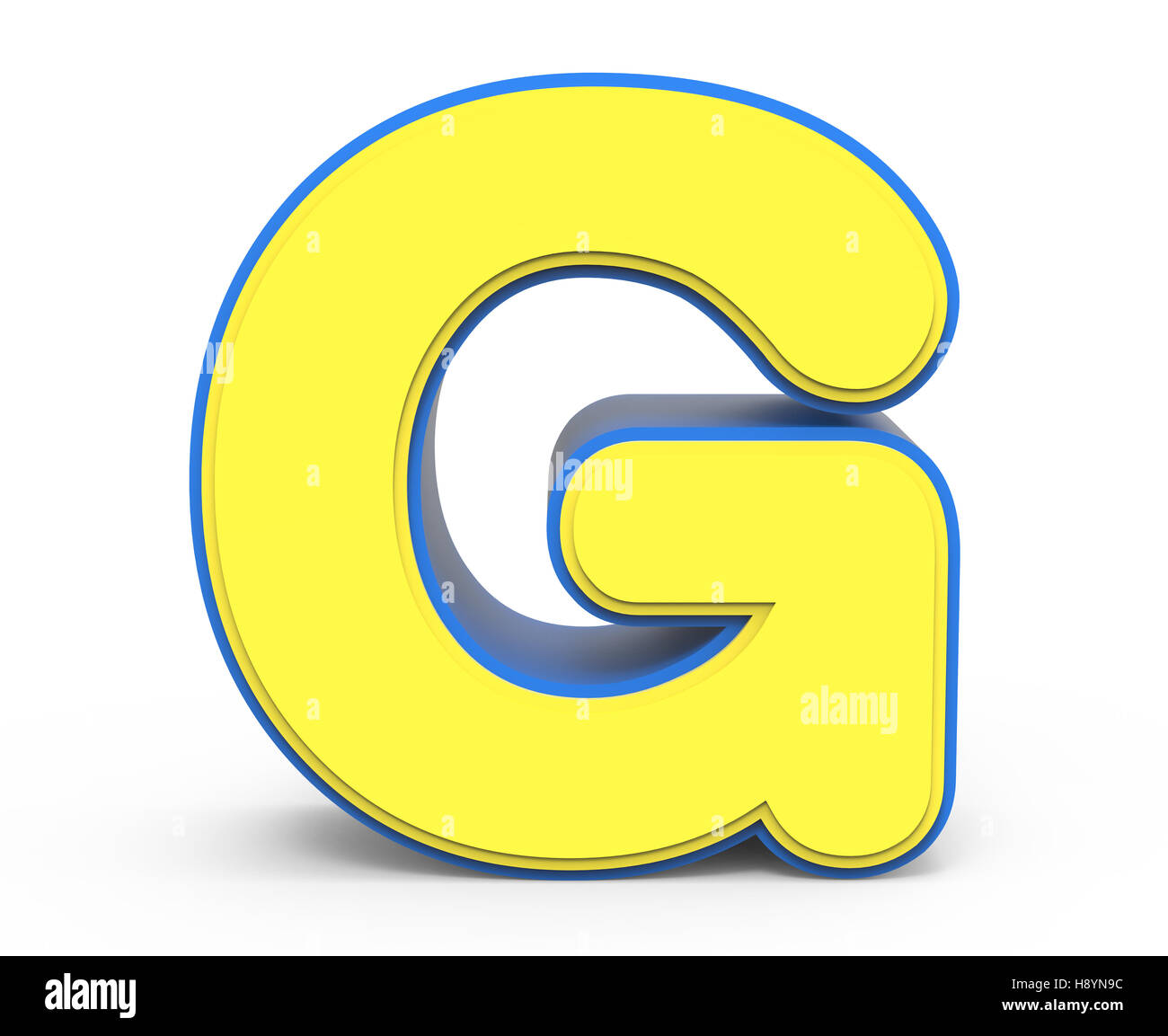 3d Rendering Cute Yellow Letter G Isolated White Background Toylike Alphabet For Design Word With Blue Frame