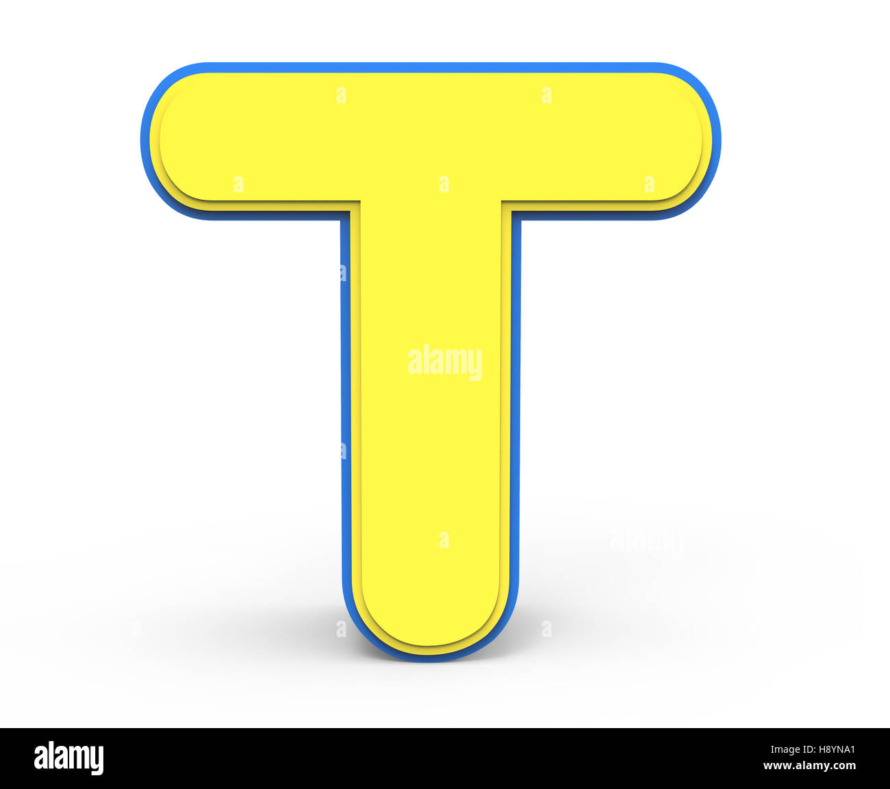 3d rendering cute yellow letter t isolated white background toylike alphabet for design yellow