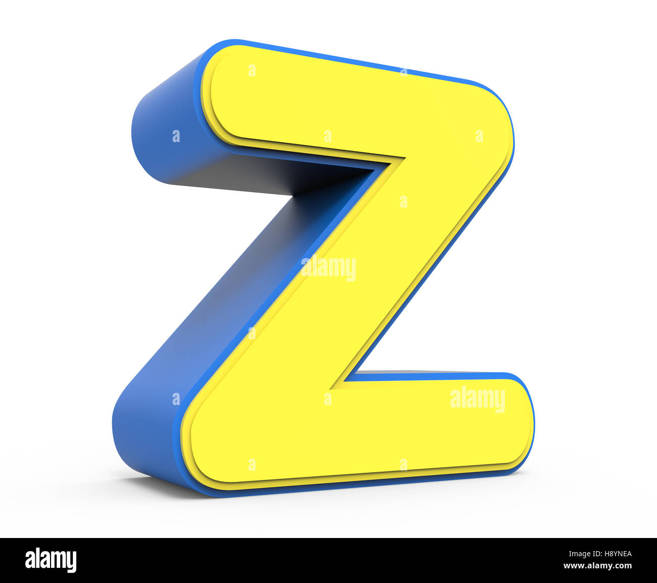 3d Rendering Cute Yellow Letter Z Isolated White Background