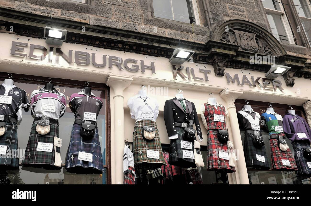 Shop of an Edinburgh kilt maker selling traditional clothing. - Stock Image