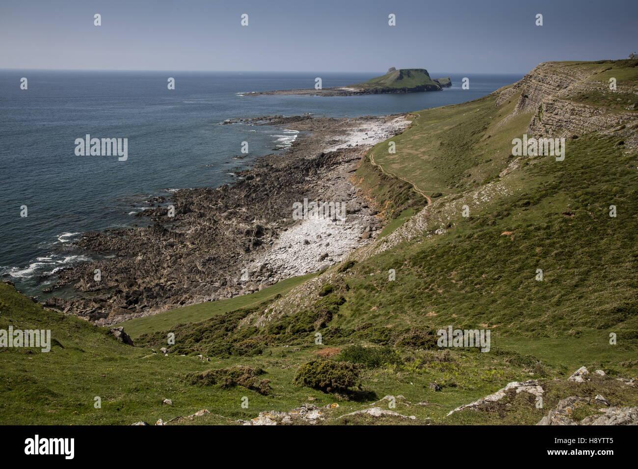South coast limestone cliffs at  Worm's Head, Rhossili; Gower Peninsula AONB, South Wales. - Stock Image
