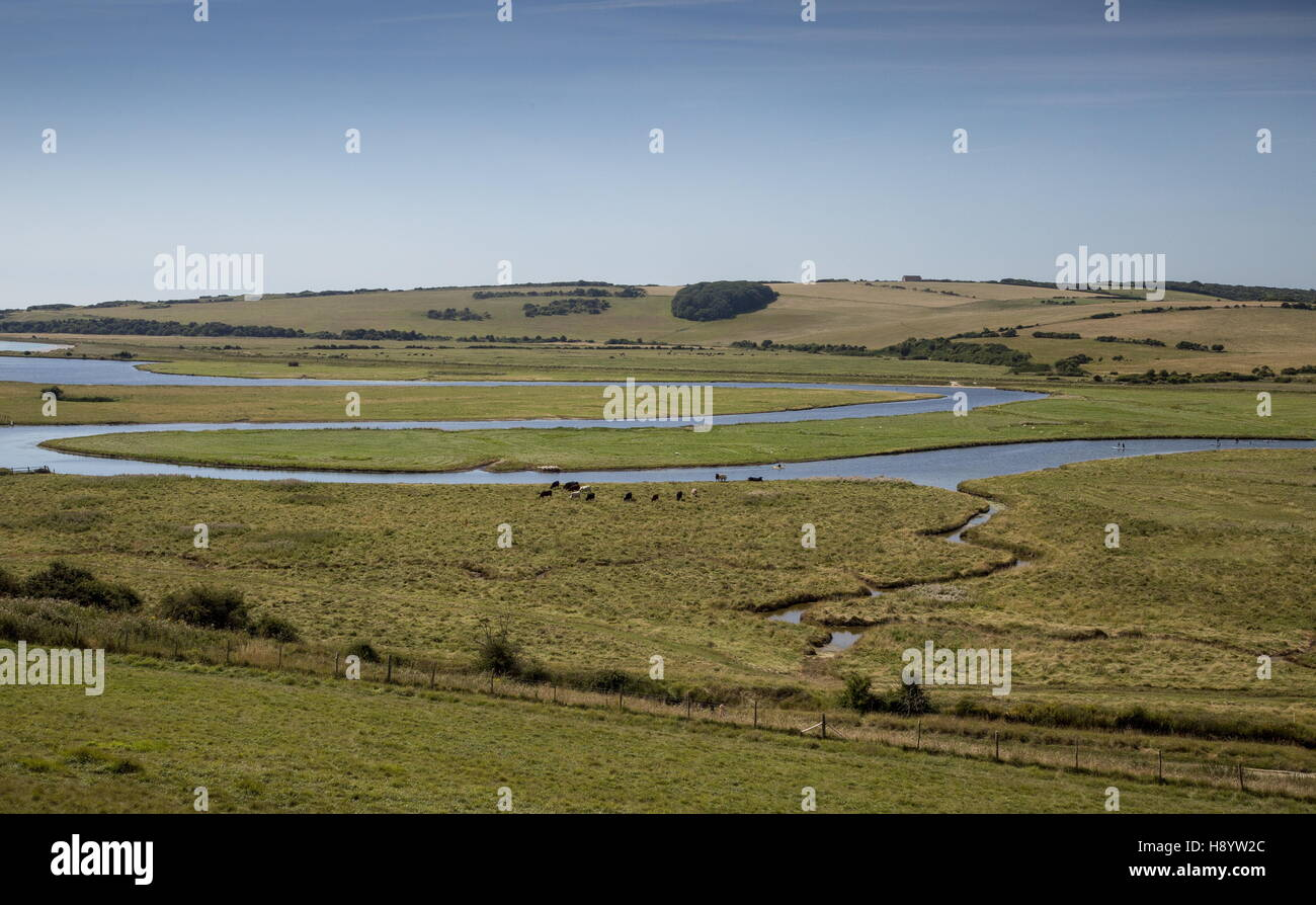 Meanders in the Cuckmere river at Cuckmere Haven, East Sussex. Stock Photo