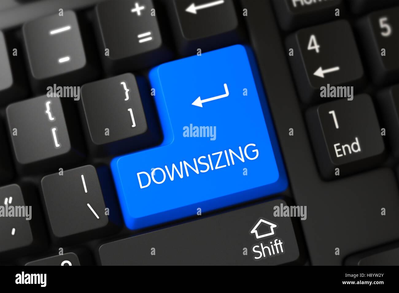 Blue Downsizing Key on Keyboard. 3D. - Stock Image