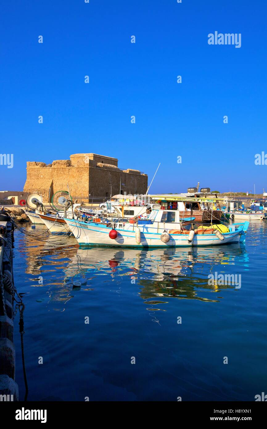 Paphos Castle and Harbour, Paphos, Cyprus, Eastern Mediterranean Sea - Stock Image