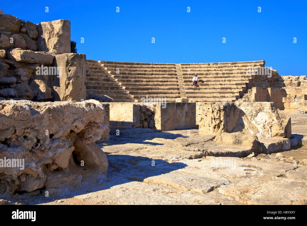 Roman Odeon, Kato Pathos Archaeological Park, Pathos, Cyprus, Eastern Mediterranean Sea - Stock Image