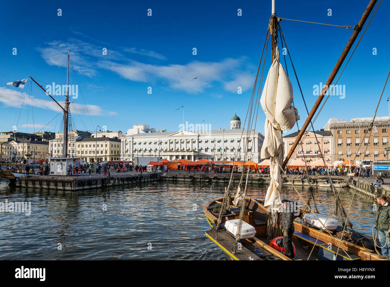 old wooden sailing boats in helsinki city central harbour port finland - Stock Image