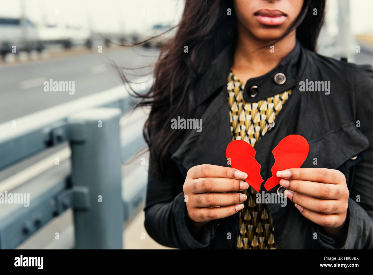 African Woman Broken Heart Disappointed Sad Concept - Stock Image