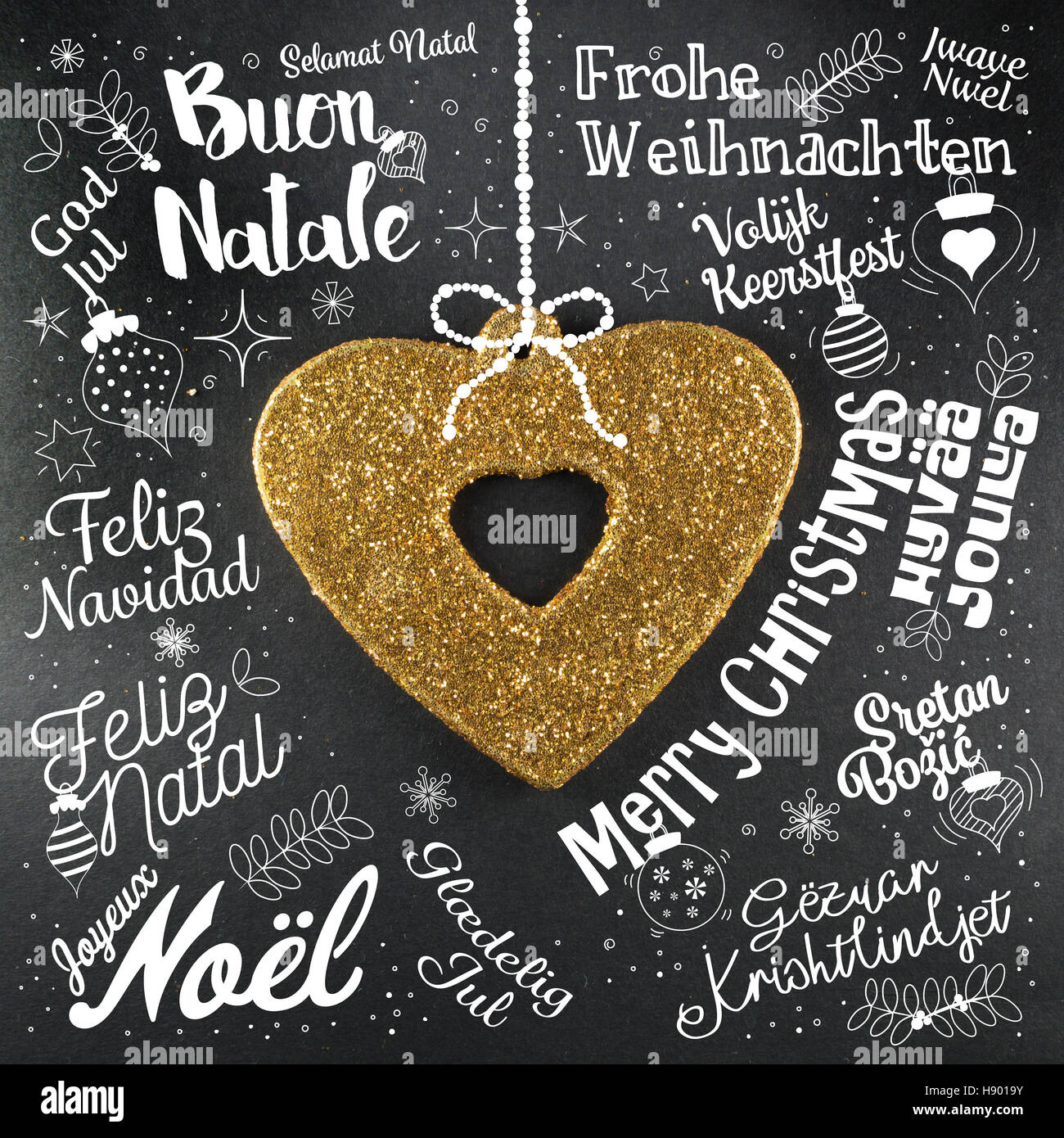 merry christmas greetings card from world in different languages with golden heart calligraphic text and - Merry Christmas In Danish