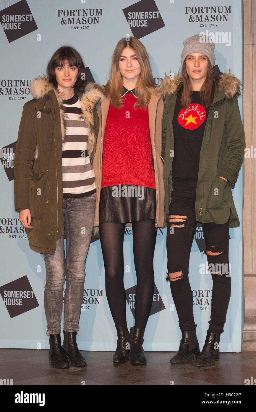 London, UK. 16th November 2016. Sam Rollinson, Eve Delf and Charlotte Wiggins. VIPs attend the launch party for - Stock Image