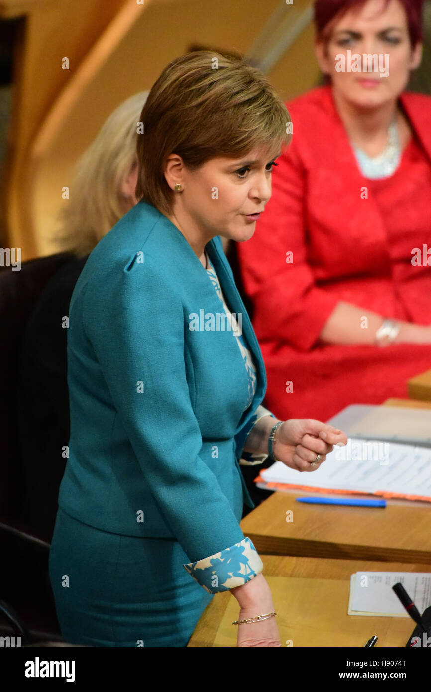 Edinburgh, Scotland, United Kingdom, 17, November, 2016. Nicola Sturgeon during First Minister's Questions in - Stock Image