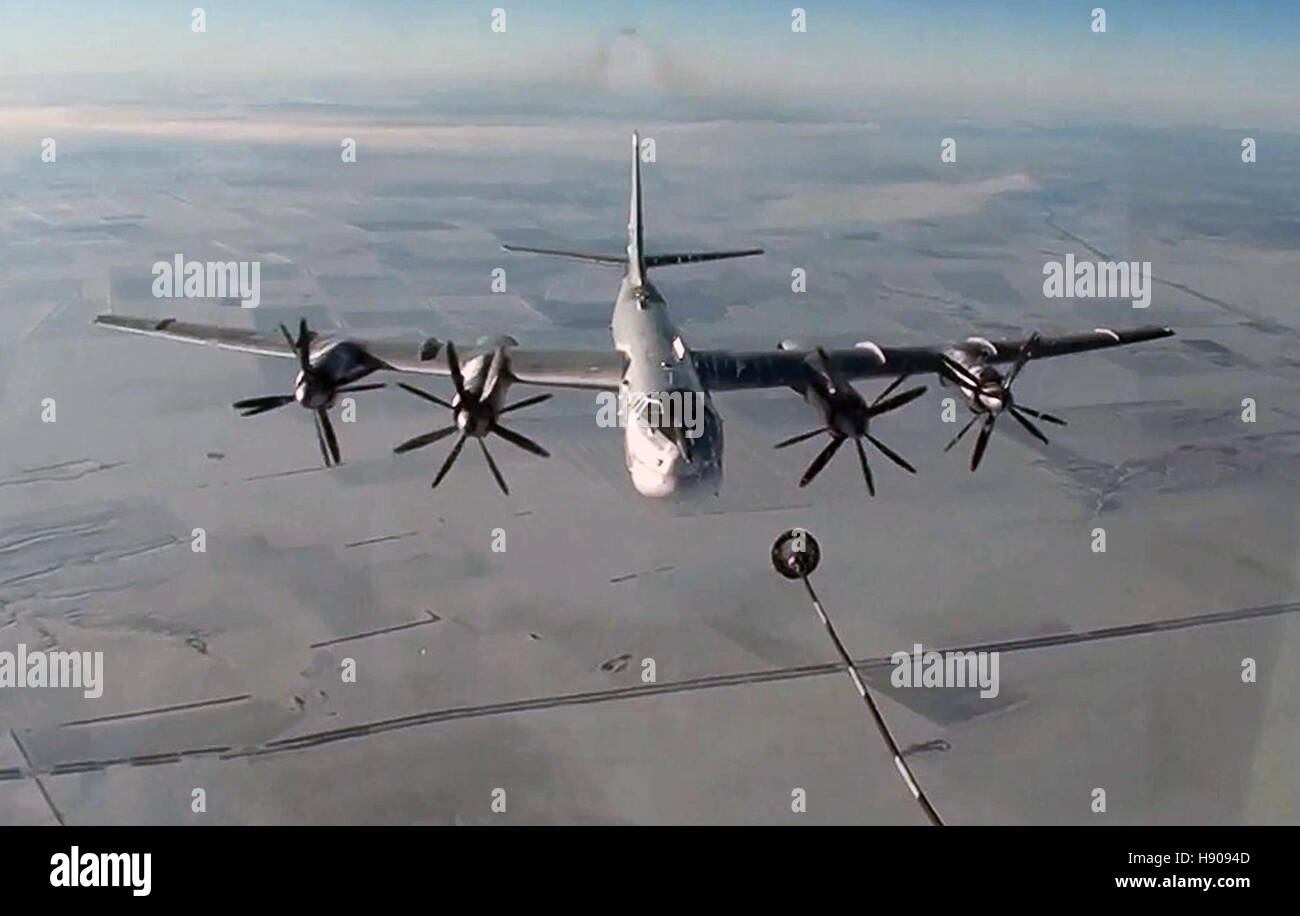 NOVEMBER 17, 2016: A Tupolev Tu-95MS strategic bomber of the Russian Aerospace Forces on a mission to carry out - Stock Image