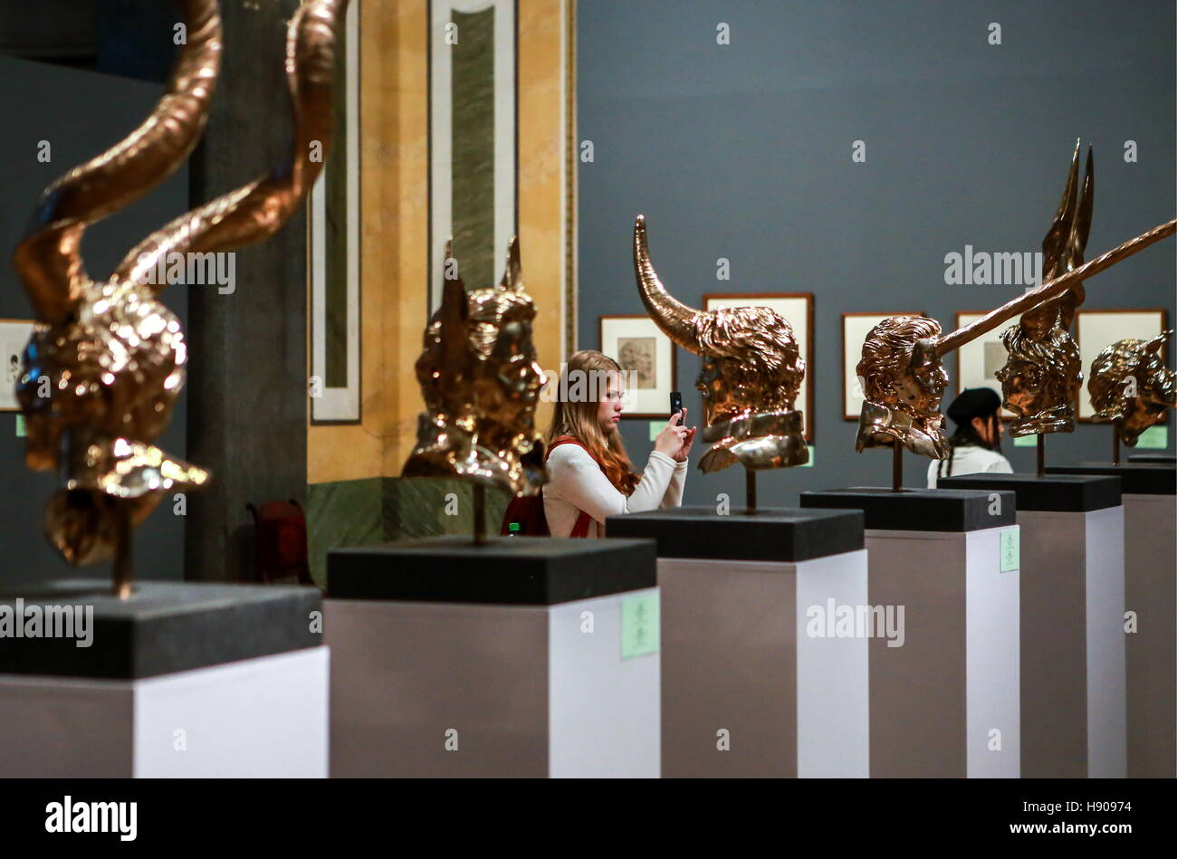 St Petersburg, Russia. 17th Nov, 2016. A visitor takes a picture of showpieces displayed at the Jan Fabre: Knight - Stock Image