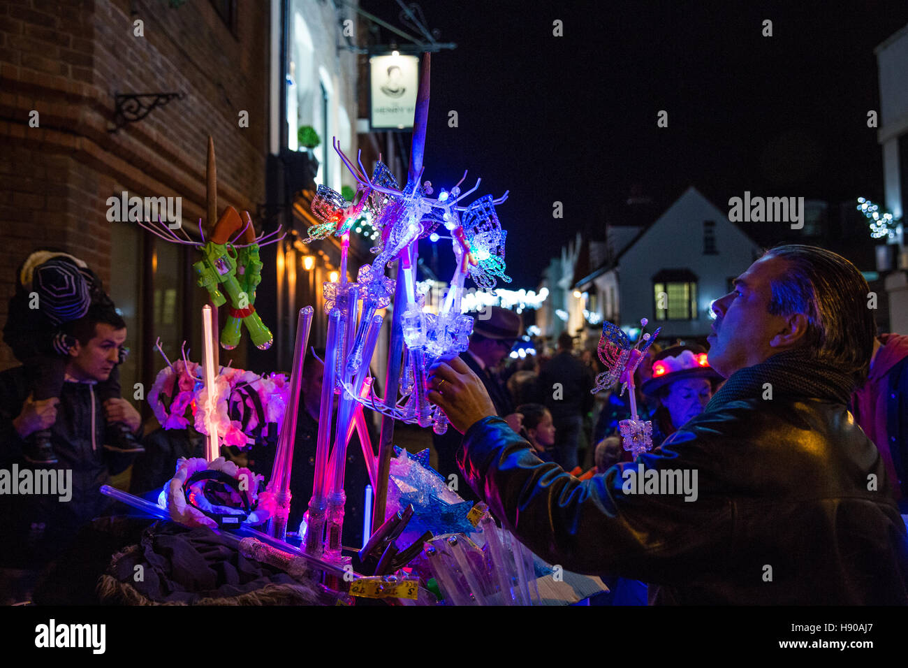 a lightsaber stall on eton high street for the switch on of the eton christmas lights credit mark kerrisonalamy live news