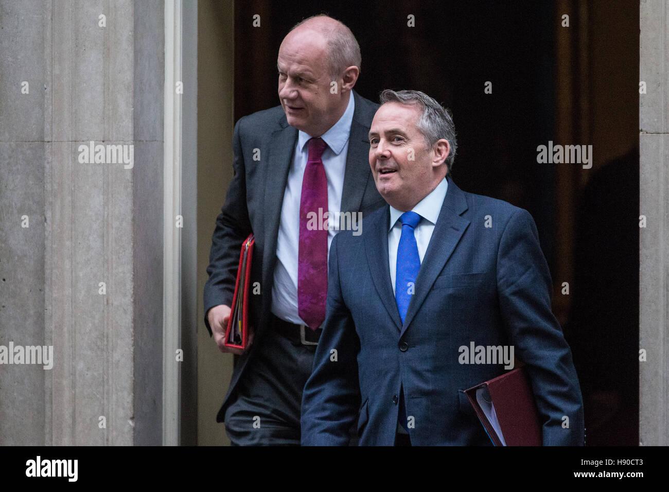 London, UK. 10th January, 2017. Liam Fox MP, Secretary of State for International Trade, and Damian Green MP, Secretary - Stock Image