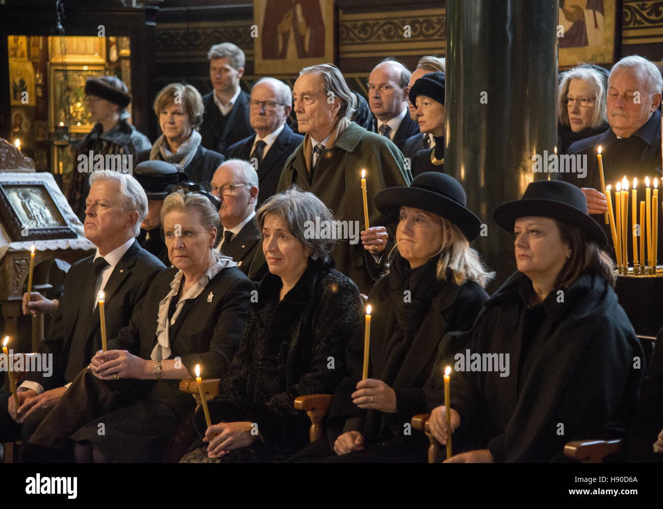 Copenhagen, Denmark. 10th Jan, 2017. Prince Dmitri Romanovich Romanov's widow Dorrit Reventlow (2nd L front) during Stock Photo