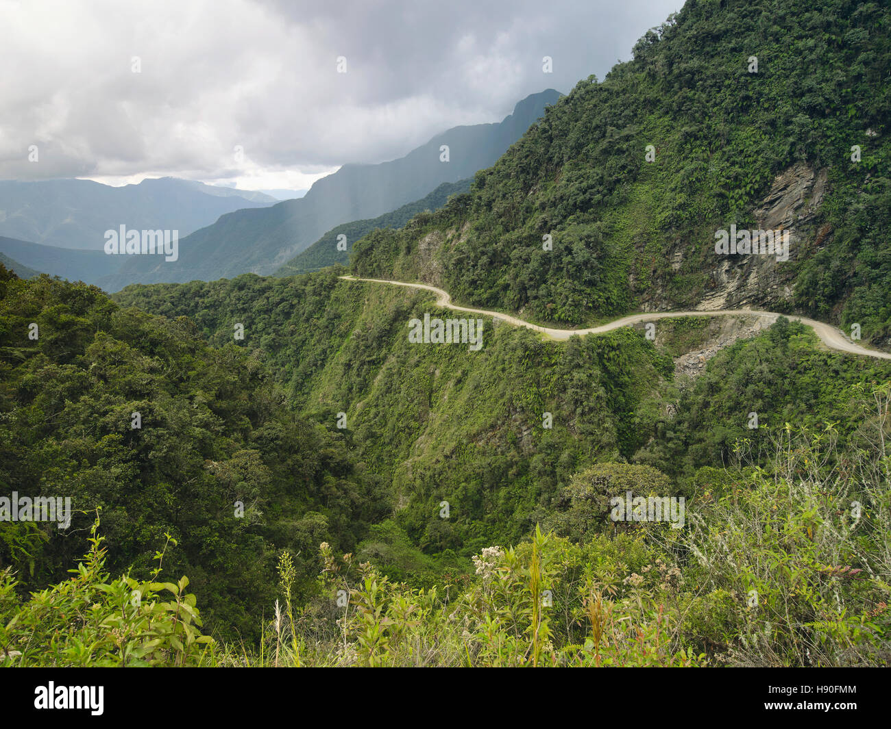 The Death Road - the most dangerous road in the world, North Yungas, Bolivia. - Stock Image