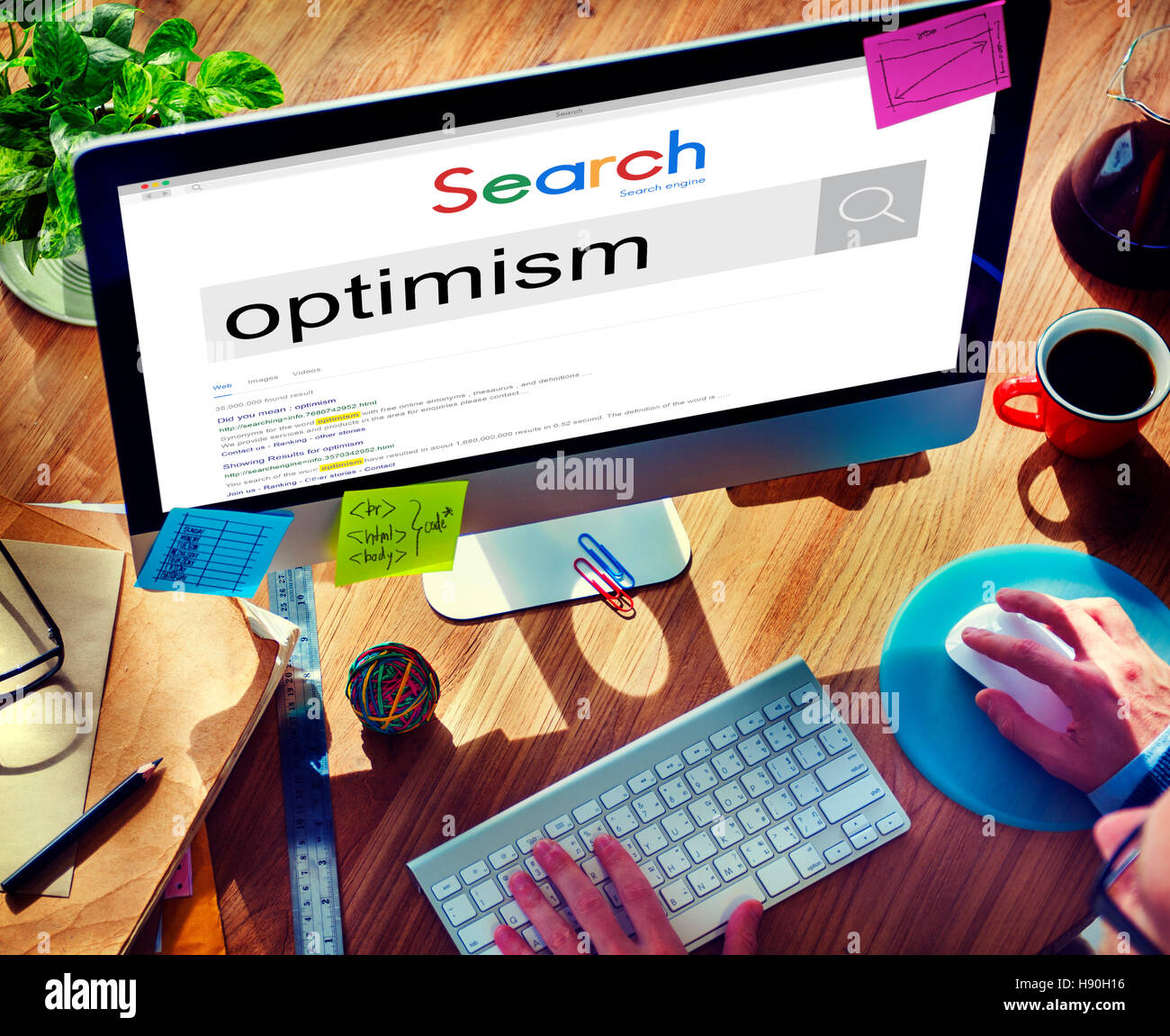 Optimism Positive Thinking Attitude Outlook Concept - Stock Image