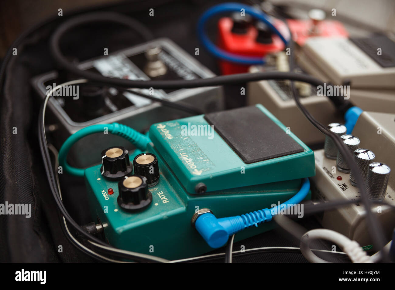 distortion effect pedals and amplifiers Selective focus - Stock Image